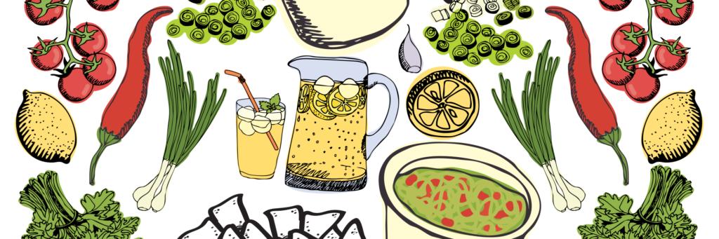 Detalle de una gráfica de diferentes ingredientes y utensilios de cocina